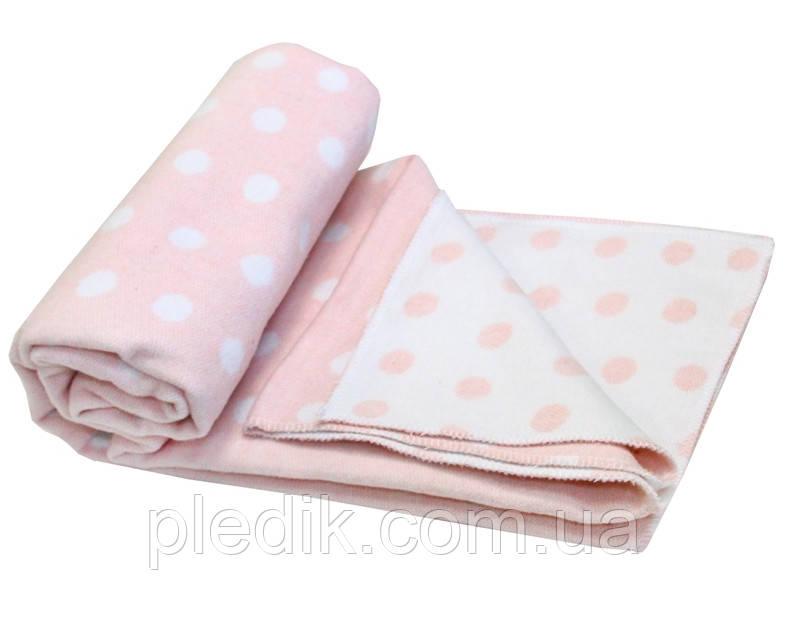 """Детское хлопковое одеяло-плед 100х140 Vladi """"Горох"""" розовый"""