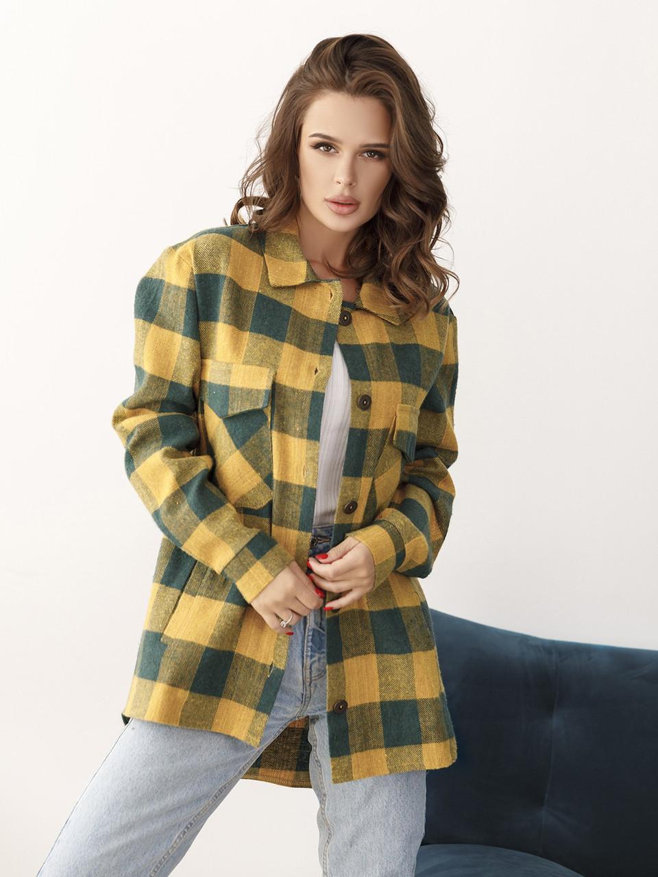 Женская рубашка пальто в клетку видеообзор в описании