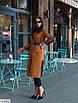 Бавовняне жіноче пальто кольору охри, розміри 42-46, фото 2