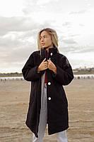 Женское осеннее пальто на подкладке оверсайз черный цвет, 42-46, 48-52, 6 цветов