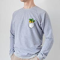 Серый мужской свитшот, карман с пальмами