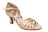 Босоножки для бальных танцев A 2100-2 5,5 см каблук Золото, фото 1