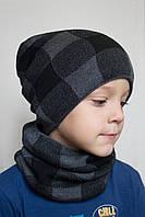 054 Комплект клетка. Зимняя шапка+хомут на флисе. р.54-56 ( от 7 лет)