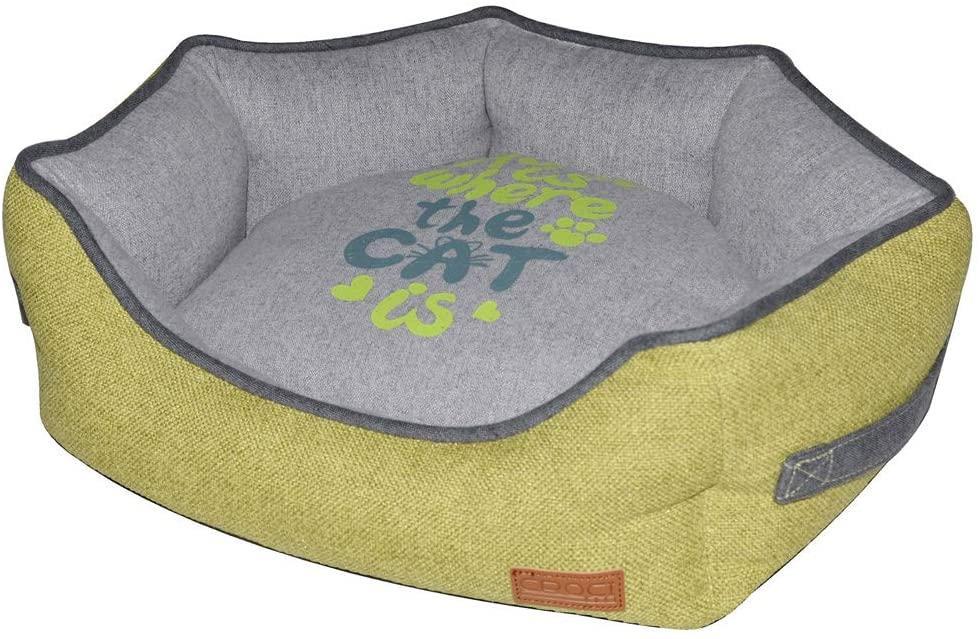 Лежанка для котов Croci Family 50*40*17 см (желтый/серый)