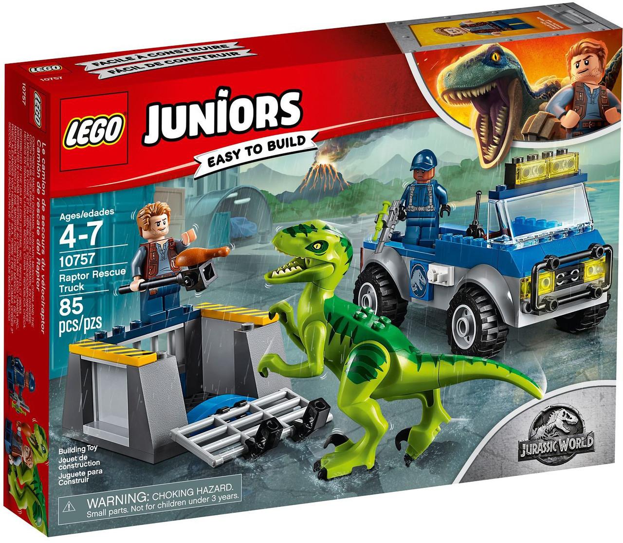 Детский Конструктор Lego Juniors Грузовик спасателей для перевозки раптора 10757