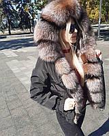 Куртка короткая (бомбер) с натуральным мехом цвет черный, фото 1