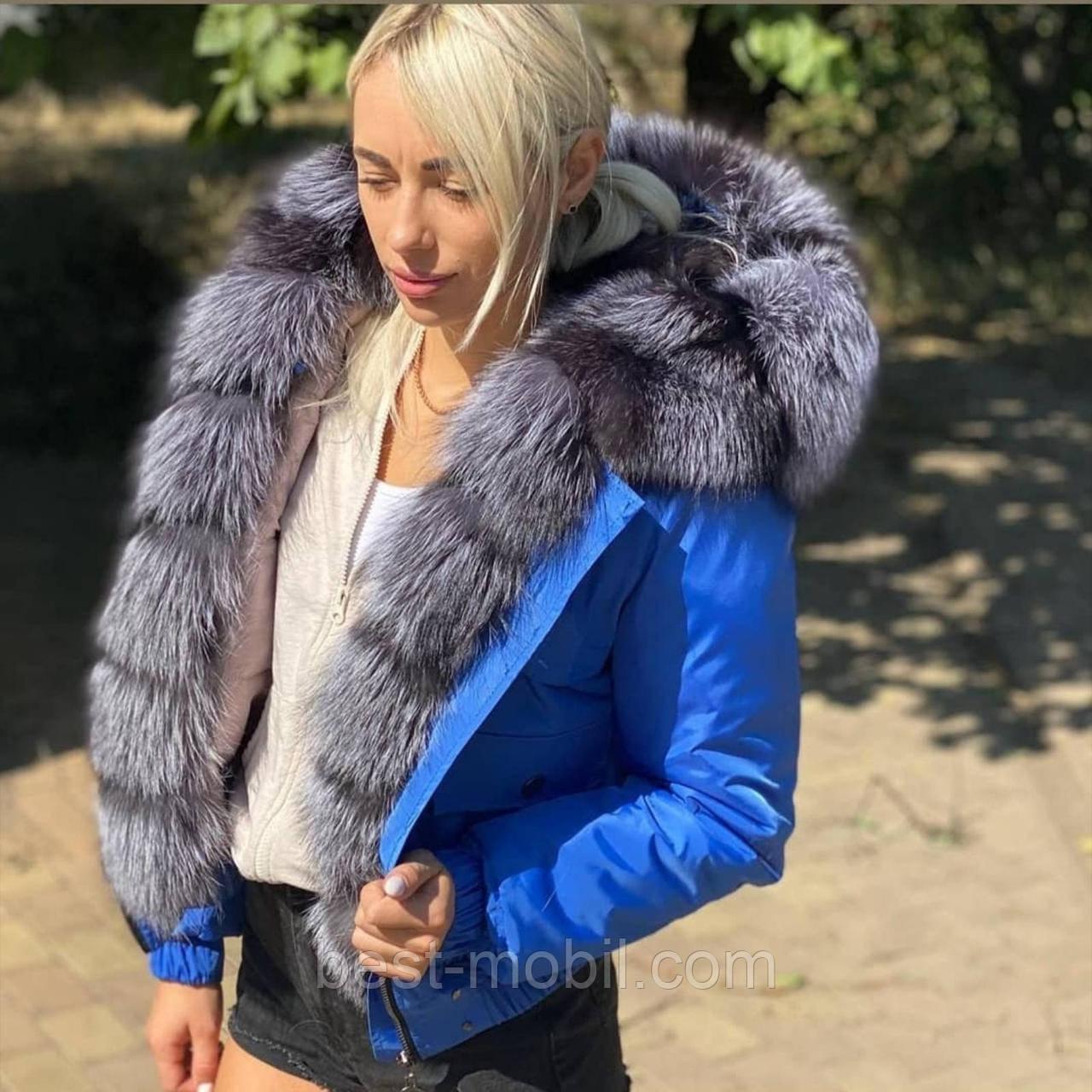Куртка короткая (бомбер) с натуральным мехом цвет электрик