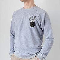Серый мужской свитшот, карман с костлявыми руками
