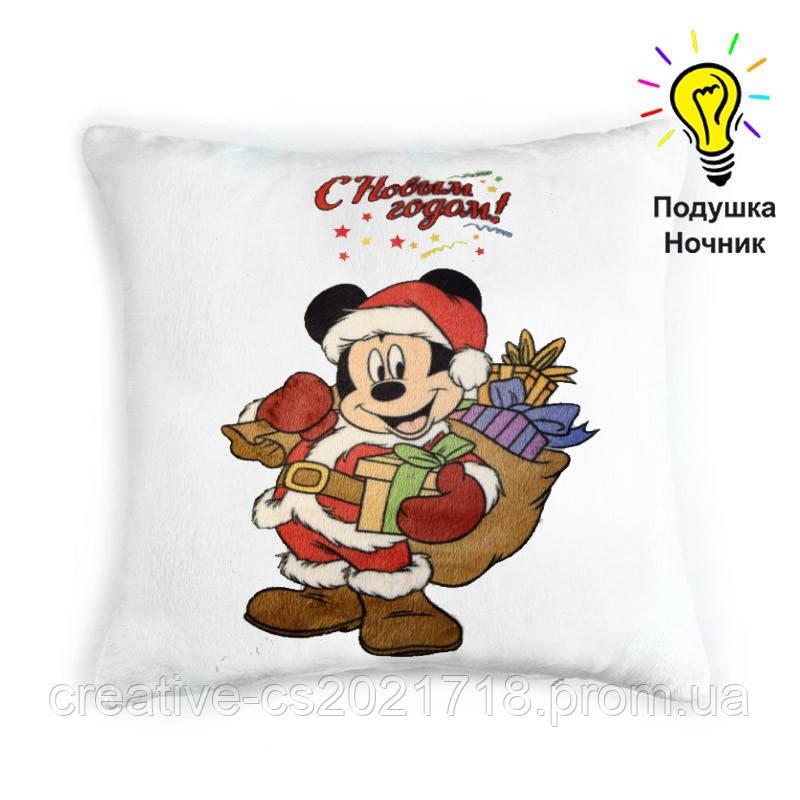 """Светящаяся подушка """"С Новым годом!"""" Микки маус (Mickey mouse)"""