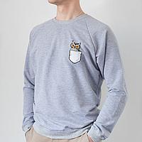 Серый мужской свитшот, карман с совой