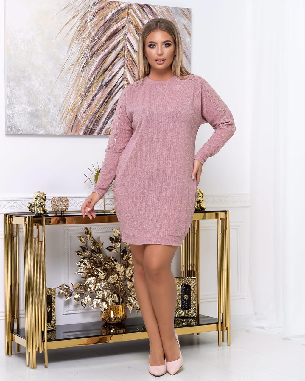 Платье из тонкой вязки полуприталенного кроя демисезонное, разные цвета р.48.50.52.54.56 Код Синтра