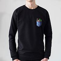 Черный мужской свитшот, карман с фламинго, фото 1