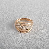Золотое кольцо широкое с фианитами KП1716