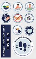 Наклейка информационная Заходи профілактики вірусу Вхід без маски заборонено Зберігай дистанцію 900х560 мм
