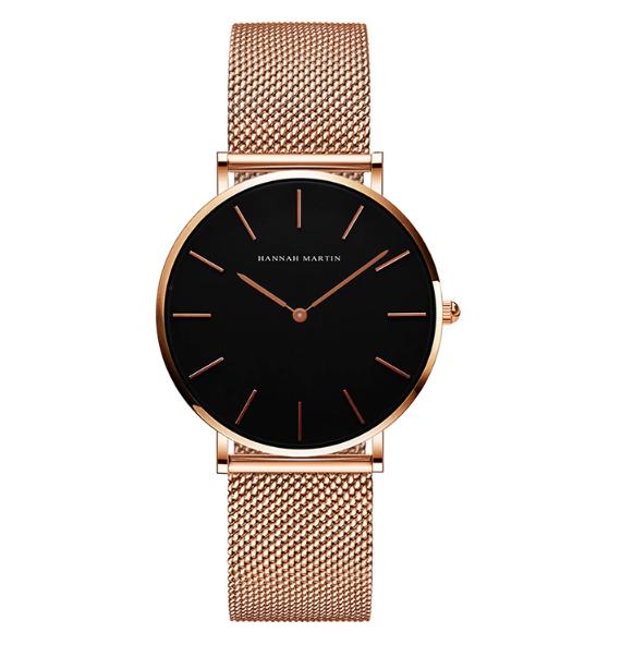 Часы Hannah Martin (rose gold/black) - гарантия 12 месяцев