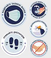 Наклейка информационная Дистанция Мойте руки Вход без маски запрещено Зберігай дистанцію 5шт 390х454 мм