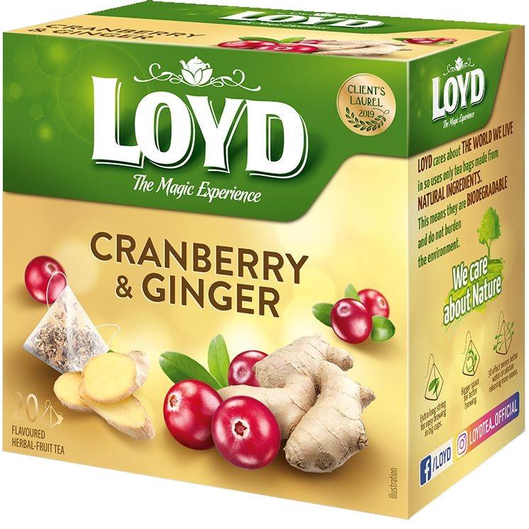 Чай фруктовий LOYD CRANBERRY & GINGER журавлина-імбир, 40г (20 пірамідок), 10шт/ящ 3103566