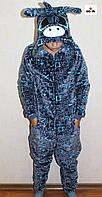 Детский кигуруми махровый единорог теплый серый для мальчика р. 36-40