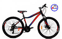 Горный велосипед Crosser Stream 24 колеса 14 рама черно-красный/shimano/алюминиевая рама