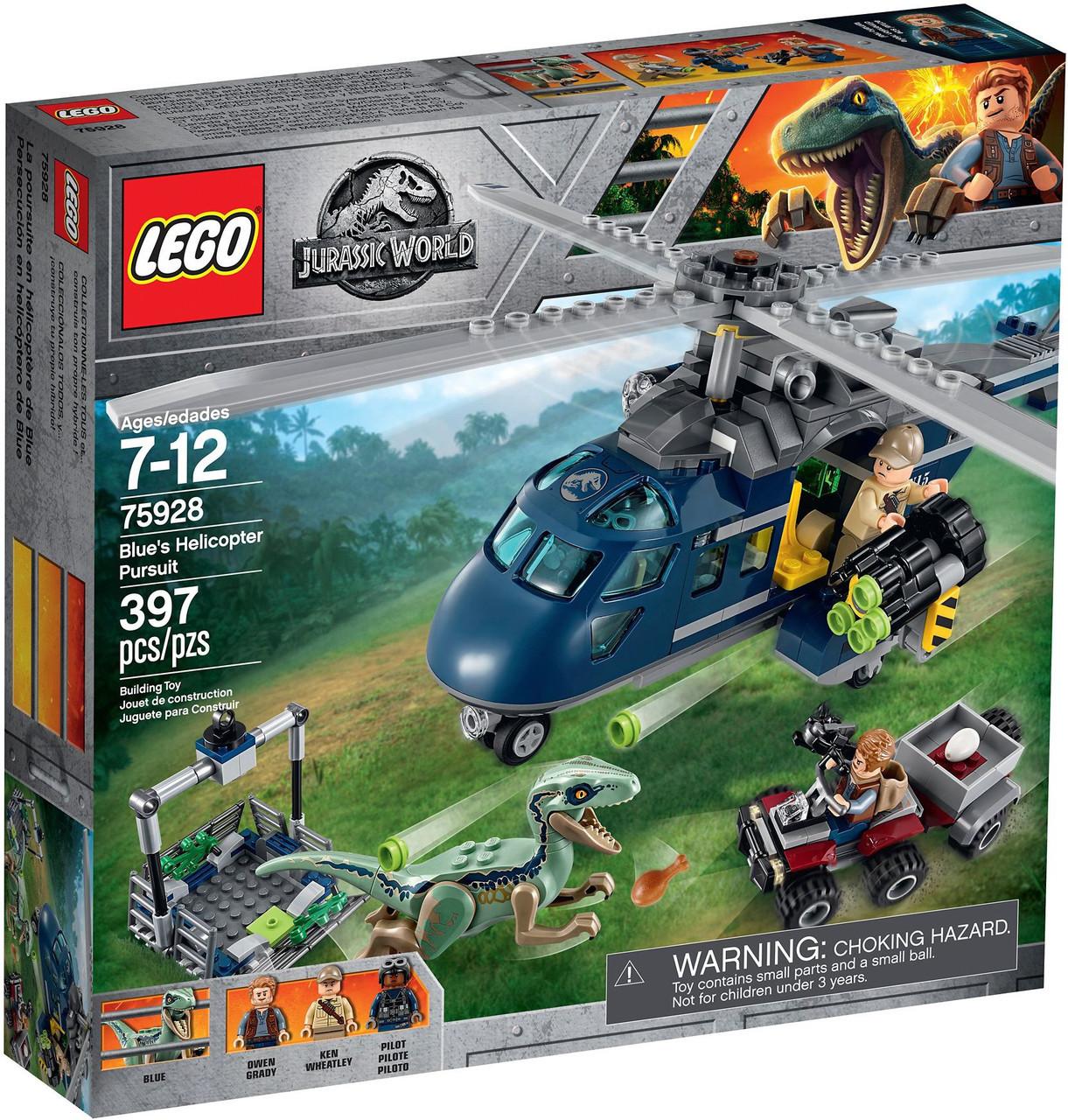 Детский Конструктор Lego Jurassic World Погоня за Блю на вертолёте 75928
