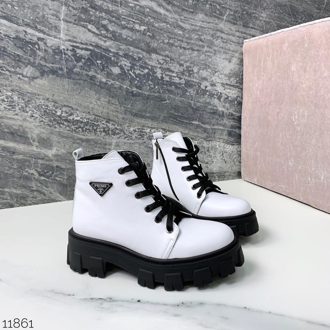 Ботинки белые натуральная кожа 11861 (ЯМ)