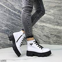 Ботинки белые натуральная кожа 11861 (ЯМ), фото 3