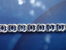 Срібна ланцюжок, 550мм, 18 грам, Арабська бісмарк, світле срібло, фото 3