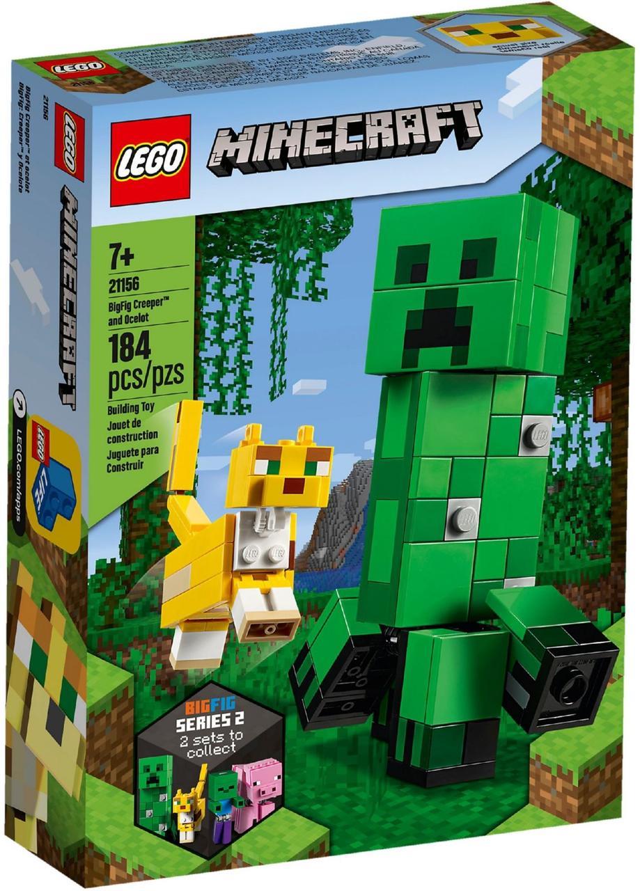 Детский Конструктор Lego Minecraft Большие фигурки Minecraft Крипер и Оцелот 21156