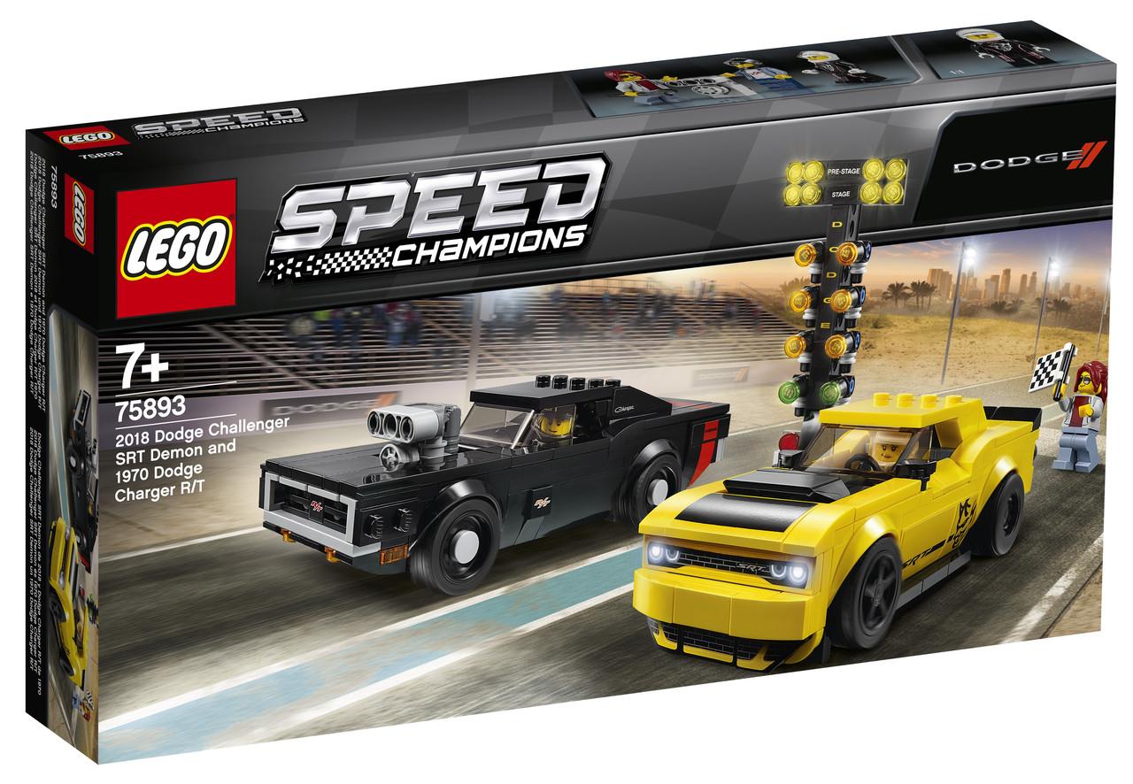 Детский Конструктор Lego Speed Champions Автомобили 2018 Dodge Challenger SRT Demon и 1970 Dodge Charger R/T