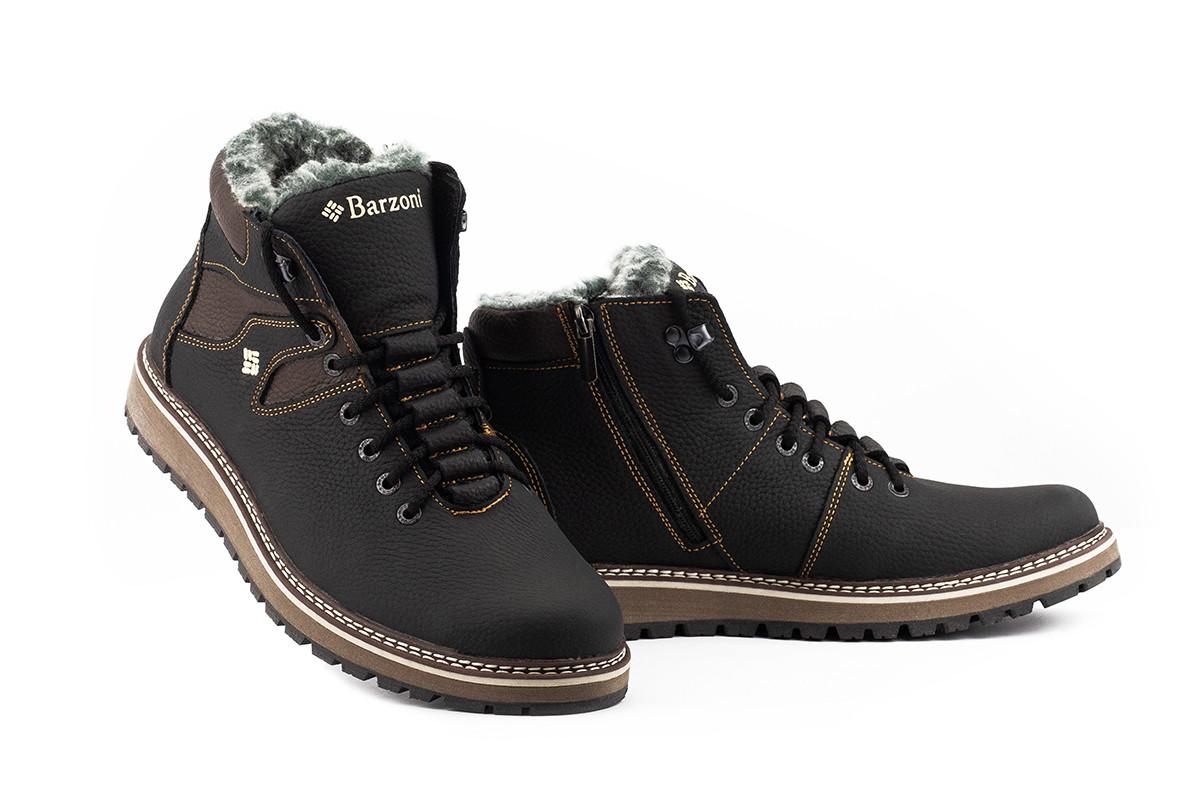 Мужские ботинки кожаные зимние черные-коричневые Barzoni 333