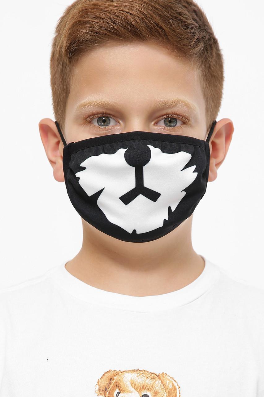 Защитная тканевая детская маска черная с принтом