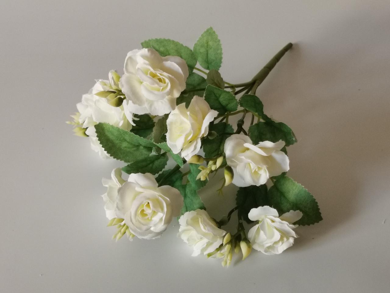 Штучні квіти. Букет чайної троянди, білий.