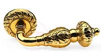 Дверная ручка на круглой розетке Fadex Gemini латунь полированная (Италия), фото 1