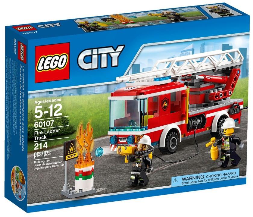 Детский Конструктор Lego City Пожарный автомобиль с лестницей 60107