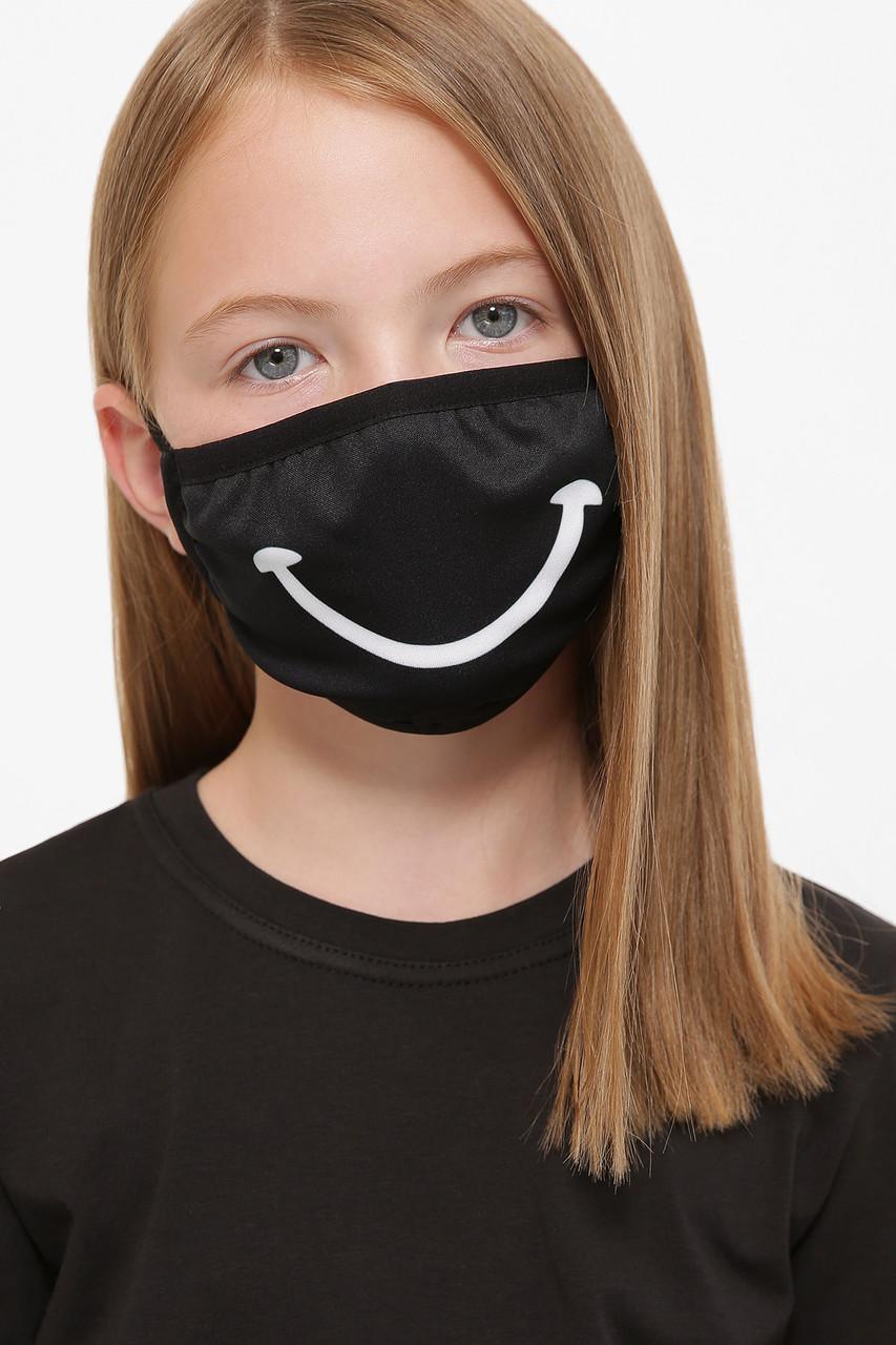 Черная детская защитная маска с рисунком