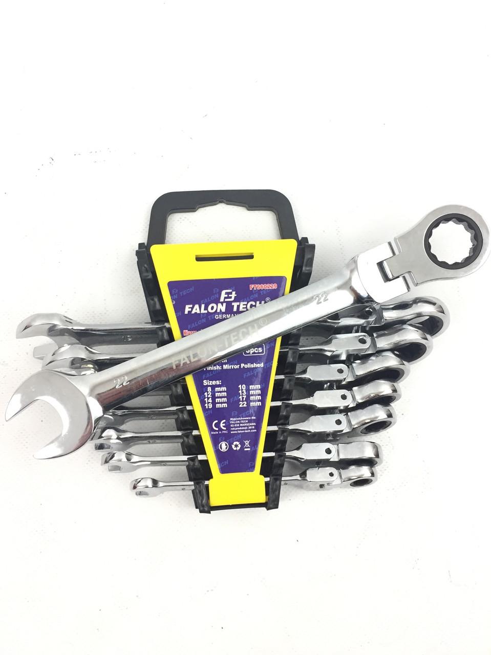 Набор ключей рожково-накидных с трещоткой шарнирные Falon Tech 8 предметов (8-22)