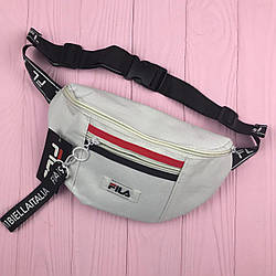 Женская сумка на пояс бананка Fila women Белый