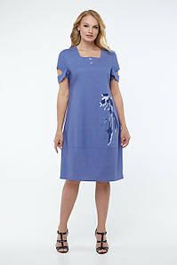Женское льняное платье свободного кроя, размеры 50-56
