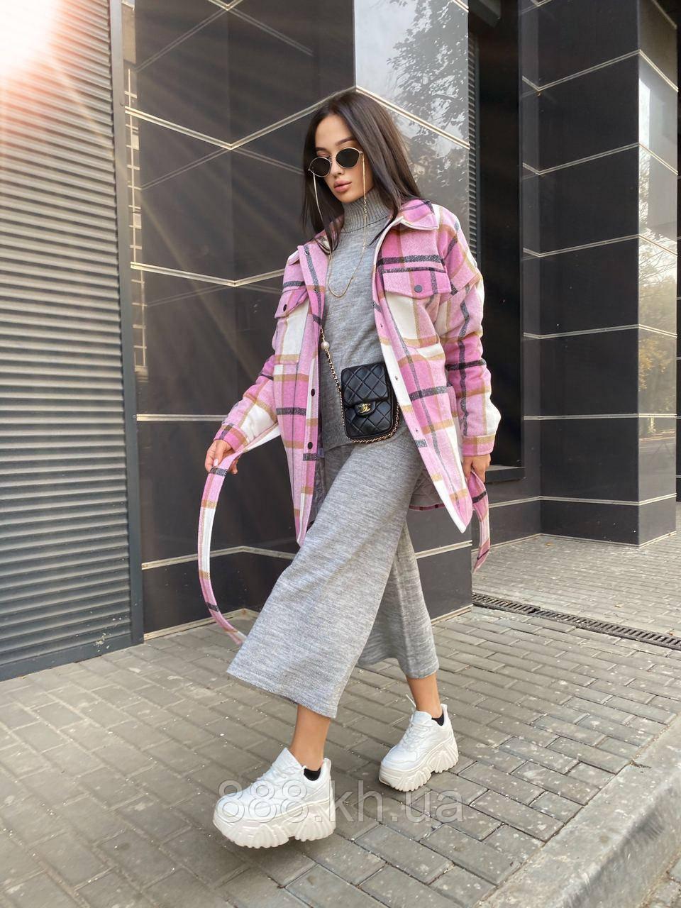 Трендовое кашемировое пальто-рубашка в клетку, 42-46, 46-50 рр, розовый