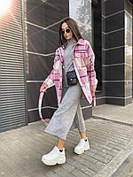 Трендовое кашемировое пальто-рубашка в клетку, 42-46, 46-50 рр, розовый, фото 1