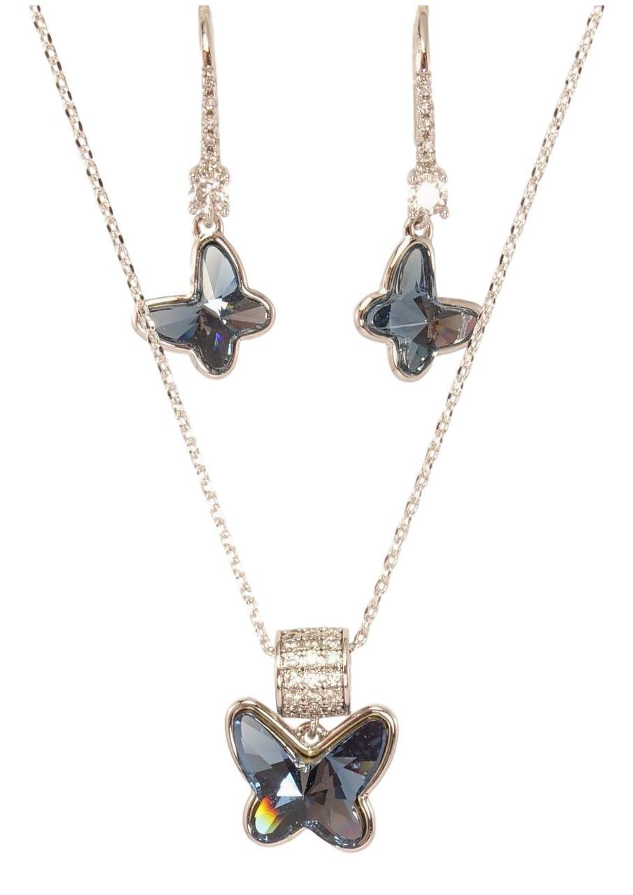 """Набір XP Родій з кристалами Swarovski Сережки Кулон на ланцюжку """"Метелики"""" довжина 40-45см х 1мм"""