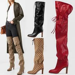 Високі ботфорти стильні чоботи 2 висоти , 5 кольорів