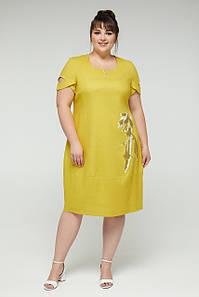 Женское льняное платье свободного кроя, размеры 50-58