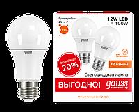Лампа светодиодная 12Вт A60 E27 2700K Gauss LED Elementary (2 лампы в упаковке)