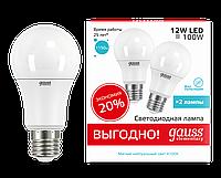 Лампа светодиодная 12Вт A60 E27 4100K Gauss LED Elementary (2 лампы в упаковке)