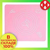 Коврик для выпечки, и раскатывания теста, силиконовый, антипригарный, 29x26 см., цвет - розовый