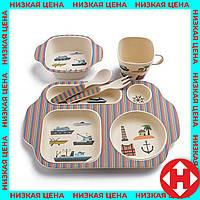 Набор детской посуды, из бамбукового волокна, экологическая посуда, 5 предметов, расцветка - Корабли, фото 1