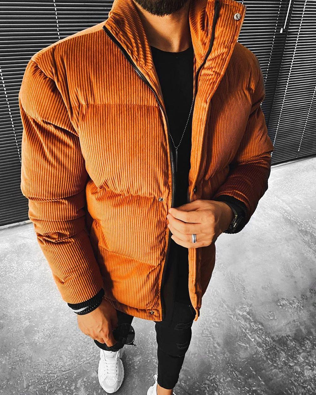 😜 Куртка - Мужскаяя куртка зима велюр (коричневая)