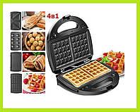 Электрическая гриль, вафельница, бутербродница, орешки 4в1 Crownberg CB-1074 со съемными формами