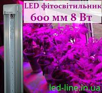 LED фитосветильник светильник для растений 600 мм 8 Вт T8-2835-0.6FS R:B=4:2 4 красных 2 синих